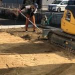 芝張り・土間コンクリート打ちの下準備と防草シート